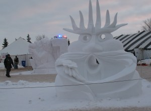 Another snow sculpture, carved from a giant block of snow