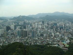 view of Seoul from Mt Namsan tower