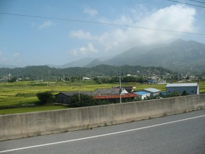 Korean rice fields and mountains