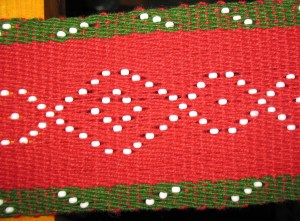 Red&Green beaded sash