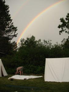 setting up camp under the rainbow