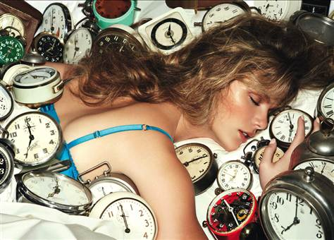 12 Quick Morning Beauty Fixes - Woman Oversleeping Alarm Clocks