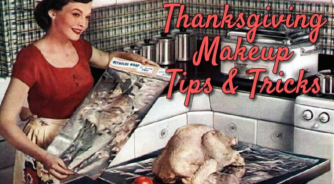Thanksgiving Makeup 1950s Woman Cooking Turkey