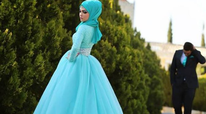 Hijab with Frock fancy blue wedding dress feature