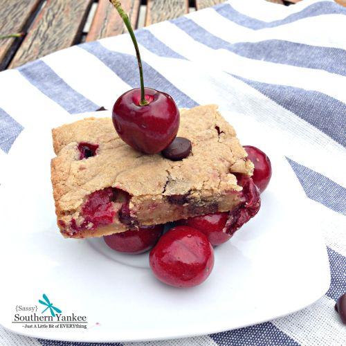 Chocolate Covered Cherry Blondies | Sassy Southern Yankee