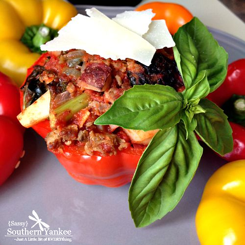 Stuffed Peppers with Kale and Sausage {Gluten Free and Whole 30 Approved}