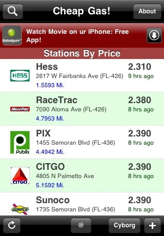 cheap gas Top 100 Best Free iPhone 4 Apps