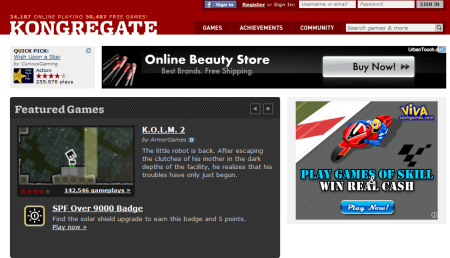 Kongregate 450x258 Best Entertainment Websites On The Web in 2011