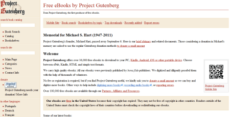 project guttenberg 450x230 Best Entertainment Websites On The Web in 2011