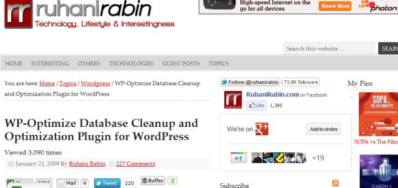 wpoptimize 580x274 Best WordPress Plugins for Backup and Optimization