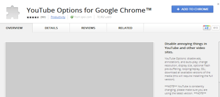 Chrome Web Store YouTube Options for Google Chrome™ 450x198 How To Skip Ads On YouTube