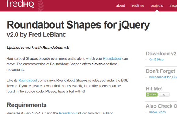 Roundabout Shapes for jQuery 580x375 43 Best jQuery Carousel Sliders, Plugins, Tutorials and Examples
