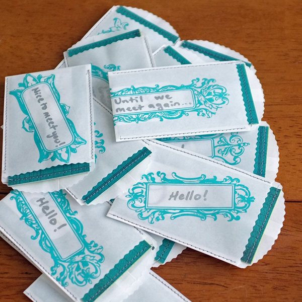machine stitched visiting cards