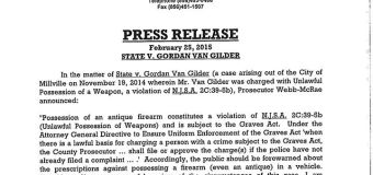 UPDATE: Cumberland drops charges against antique gun owner