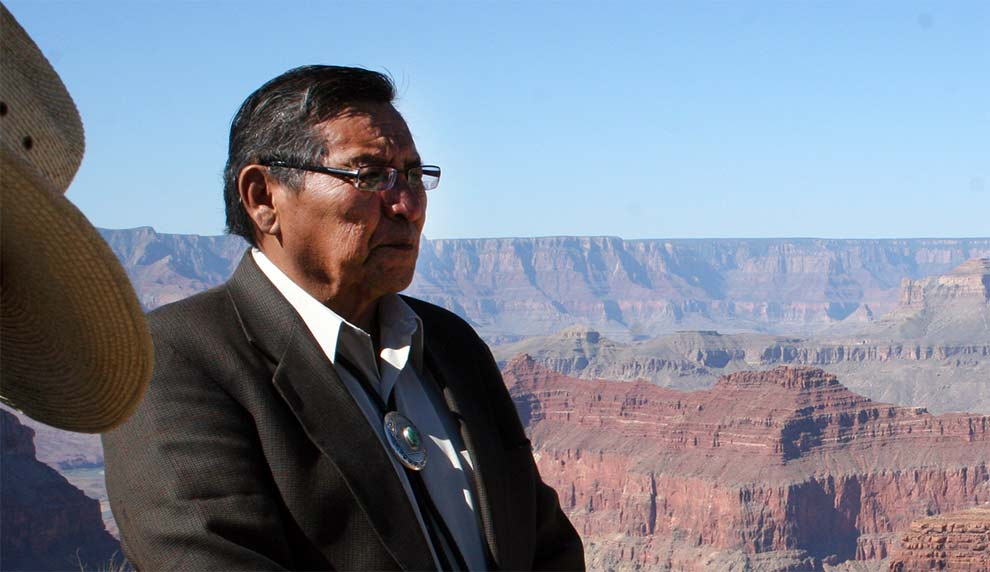 Navajo Nation President Ben Shelly overlooks The Confluence overlooking the point where the Colorado and Little Colorado rivers meet at the Grand Canyon.