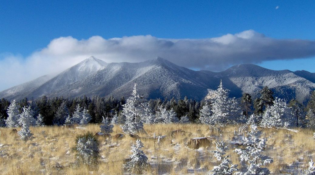 San Francisco Peaks capped in snow and clouds