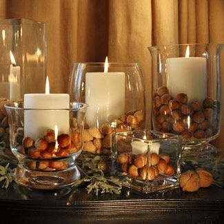 dollar store vases with acorns and candles
