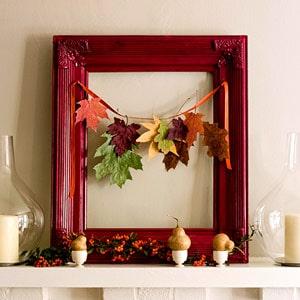 leaves strung on frame