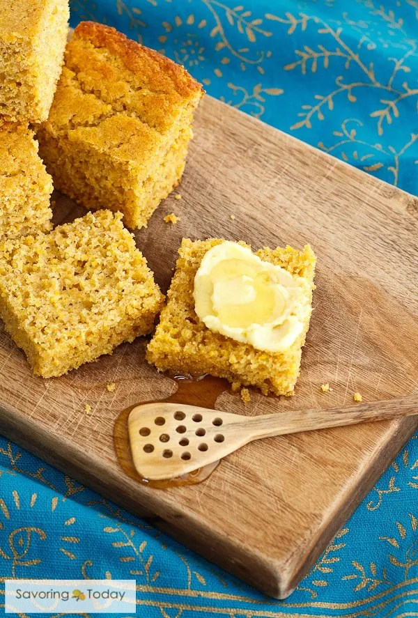 Cornbread recipe with sprouted grain flours and wholesome ingredients.