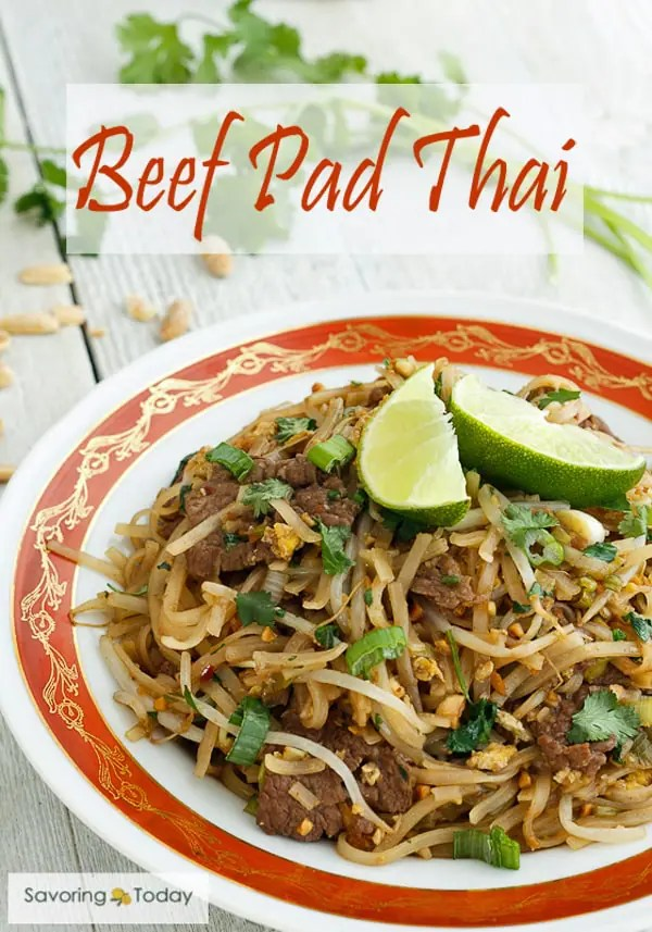 Pad Thai is an easy recipe to make at home! Add beef or any favorite protein and balance the spice to your preference.