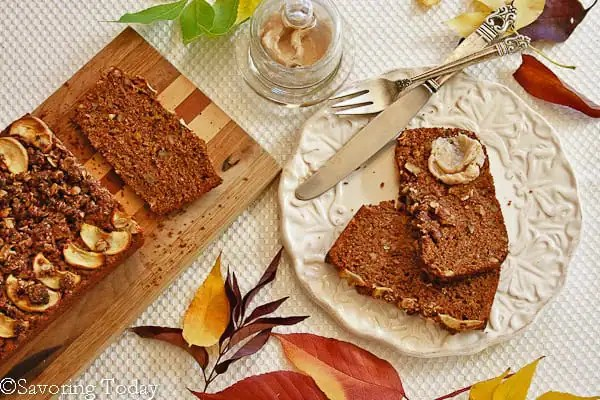 Healthy Apple Walnut Bread made with sprouted whole wheat.