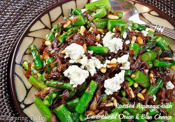 Roasted Asparagus w Caramelized Onions & Blue Cheese (close-up) | Savoring Today