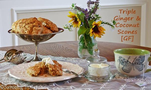 Triple Ginger Coconut Scones | Savoring Today