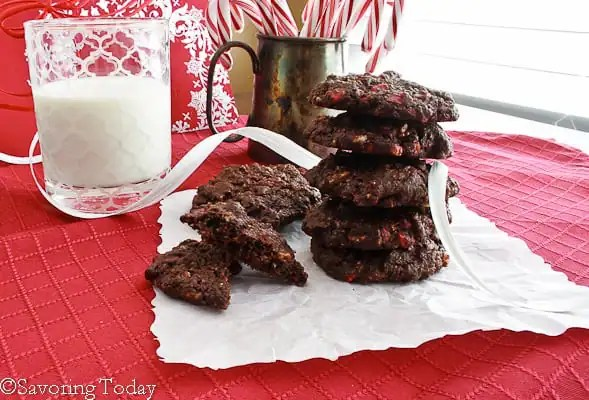 Peppermint Chip Chocolate Cookies [GF] - Stacked | Savoring Today