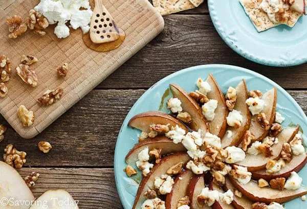 Pear & Goat Cheese Appetizer Recipe for easy and elegant buffet.