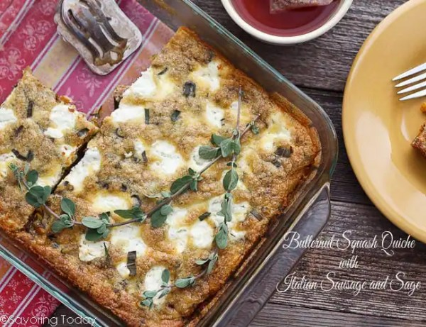 Butternut Squash Quiche with Italian Sausage and Sage Recipe | Savoring Today