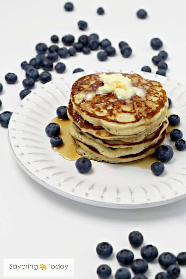 Stack of Gluten-Free Buttermilk Pancakes made with sprouted flour and almond meal. Food you can feel good about.