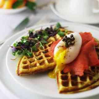 Sweet Potato Waffles, Duck Eggs and Smoked Salmon