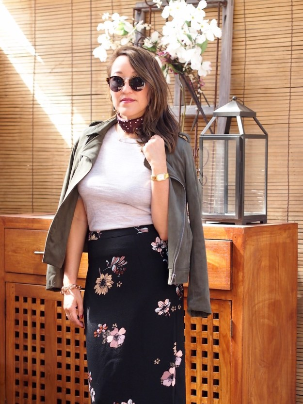 army-green-moto-jacket-with-floral-pencil-skirt
