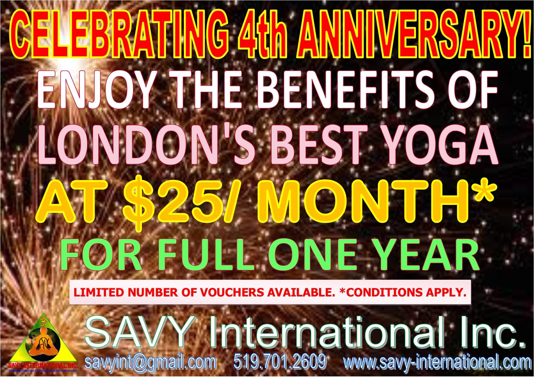 SAVY's 4th Anniversary Yoga Class Special