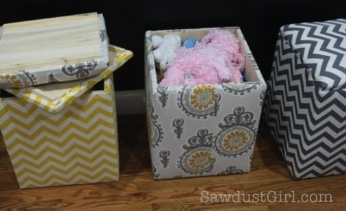 Upholstered Storage Bench Tutorial from @Sawdust Girl