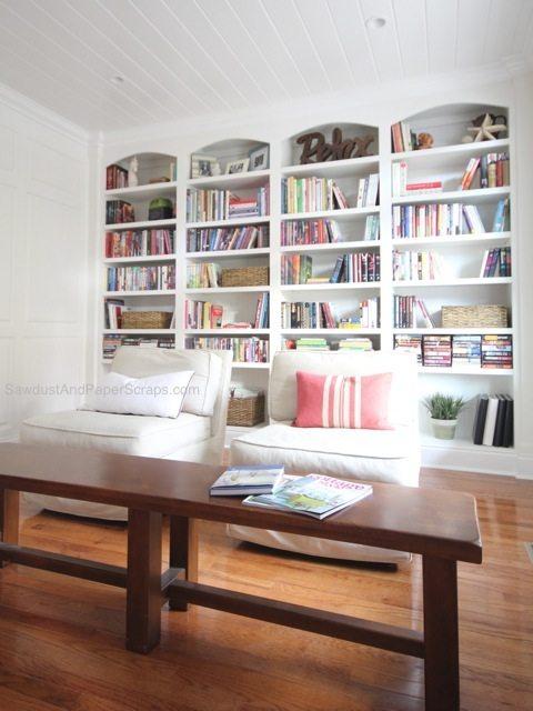 library built in bookshelves