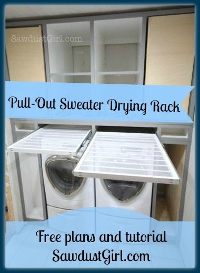 DIY pull-out sweater drying rack.