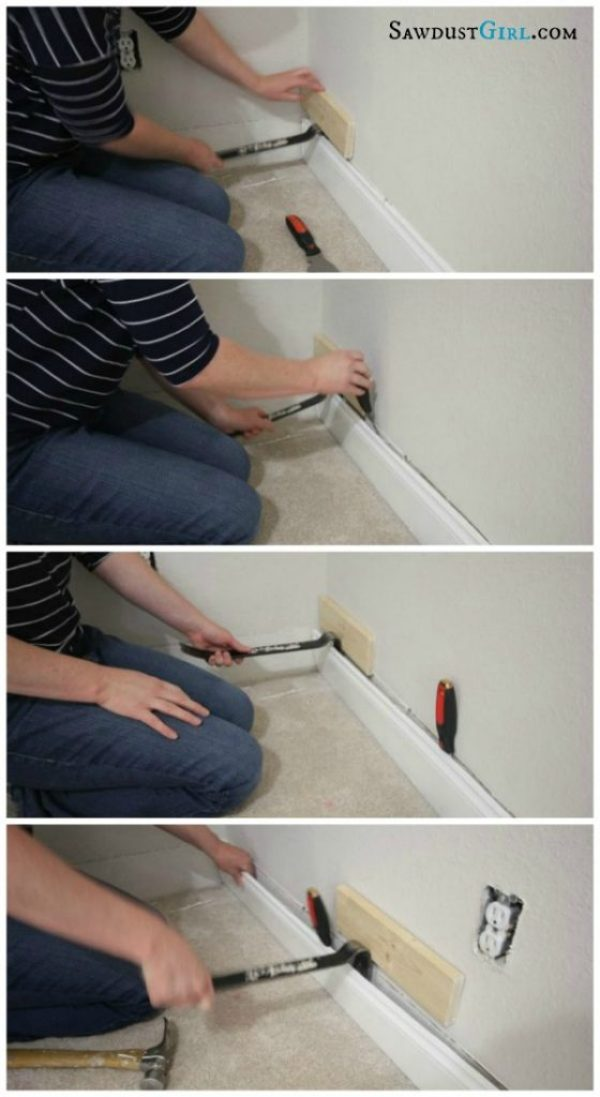 how to remove baseboard and trim without damaging your wall or moulding sawdust girl. Black Bedroom Furniture Sets. Home Design Ideas