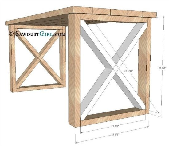 x leg desk plans and tutorial from sawdust girl office plan r