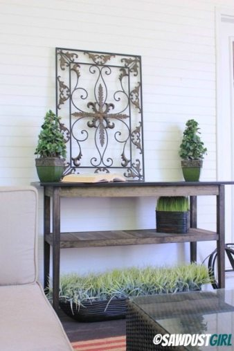 $50 DIY Console Table.  Easy and cheap wood console table project anyone can build.