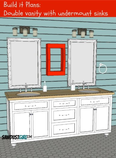 bathroom vanity plans. 32  Double Vanity with Center Drawers   Free Plans   Sawdust Girl