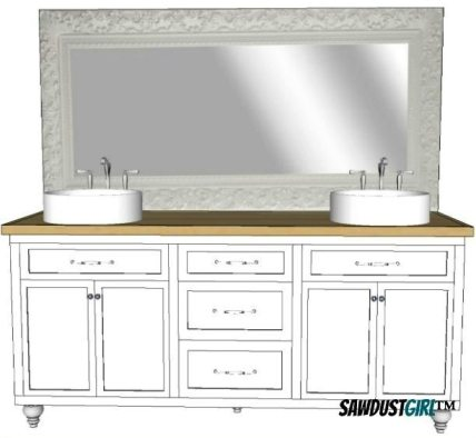 "32"" double vanity with center drawers - free plans - sawdust girl®"