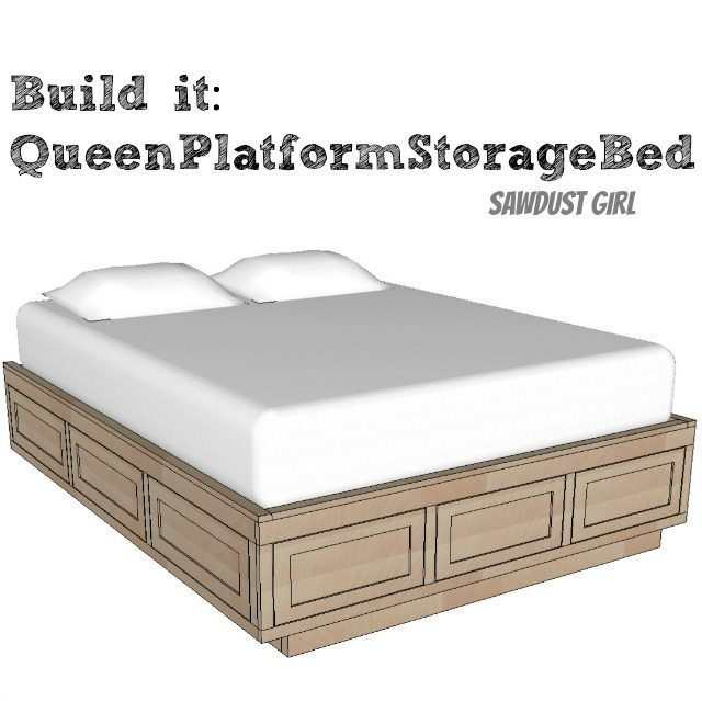 Queen Size Platform Storage Bed Plans Sawdust Girl
