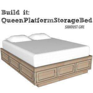 Queen platform bed -free plans