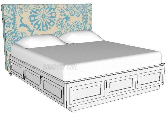platform storage bed plans from sawdust girl