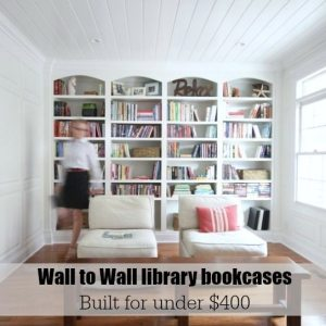 Wall to wall library built-ins built for under $400. Free and easy plans from https://sawdustgirl.com/
