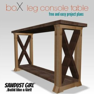 boX leg console table - free and easy project plans from https://sawdustgirl.com.