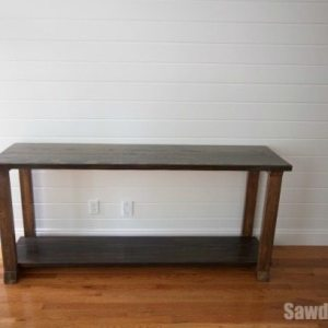 Two-toned wood console table from https://sawdustgirl.com.