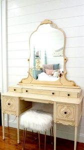 Vintage vanity in pretty bedroom