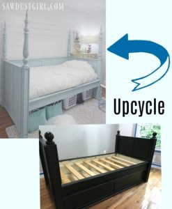 Small bedroom woes? Here is a pretty bedroom upcycle idea: Salvaged table legs and finials give a daybed extra storage underneath and a small footprint.